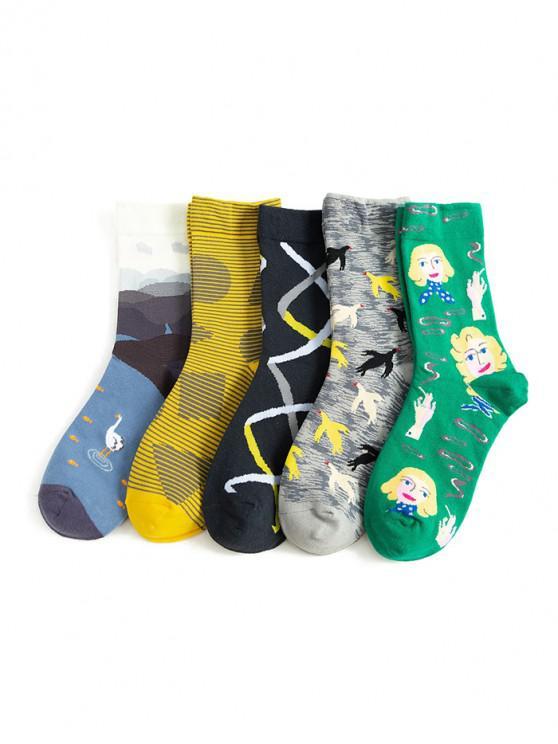 online 5Pairs Cartoon Pattern Cotton Socks Set - MULTI-A