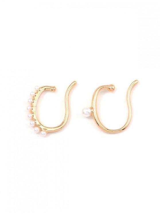 Clips para las orejas perlas de imitación asimétricas - Oro