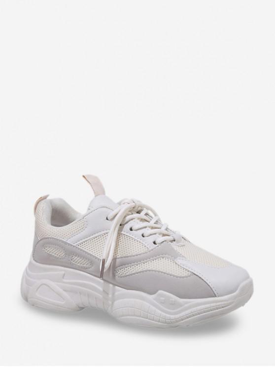 womens Mesh Trim Outdoor Dad Sneakers - WHITE EU 37