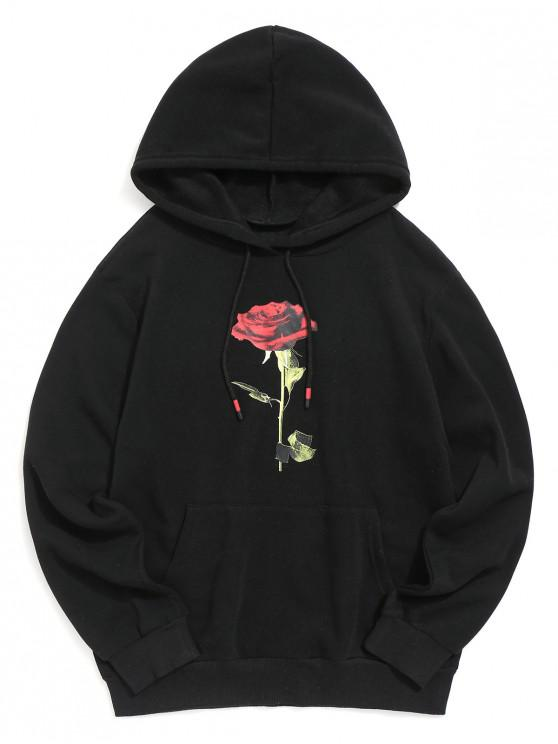 shops Rose Print Kangaroo Pocket Casual Hoodie - BLACK L