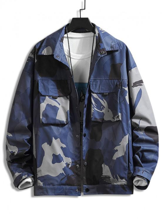 fancy Camo Printed Pocket Design Button Jacket - CADETBLUE 4XL