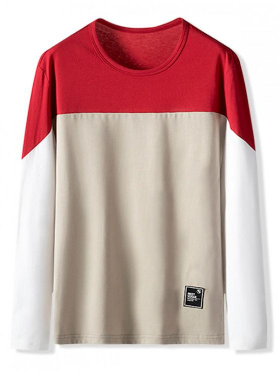 shops Color Blocking Letter Pattern Casual T-shirt - LAVA RED M