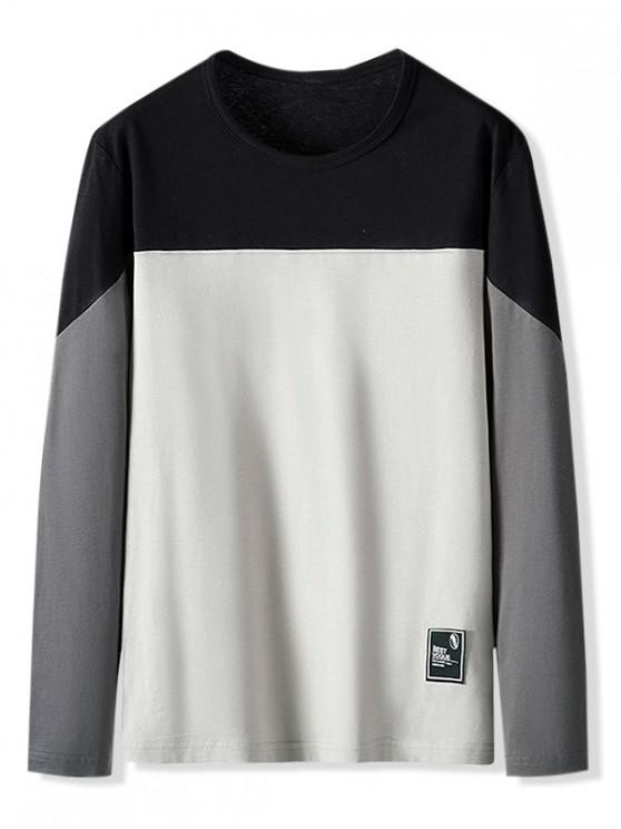 trendy Color Blocking Letter Pattern Casual T-shirt - CARBON GRAY S