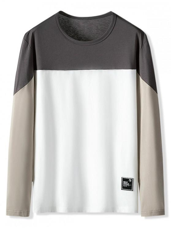 chic Color Blocking Letter Pattern Casual T-shirt - TAN XS