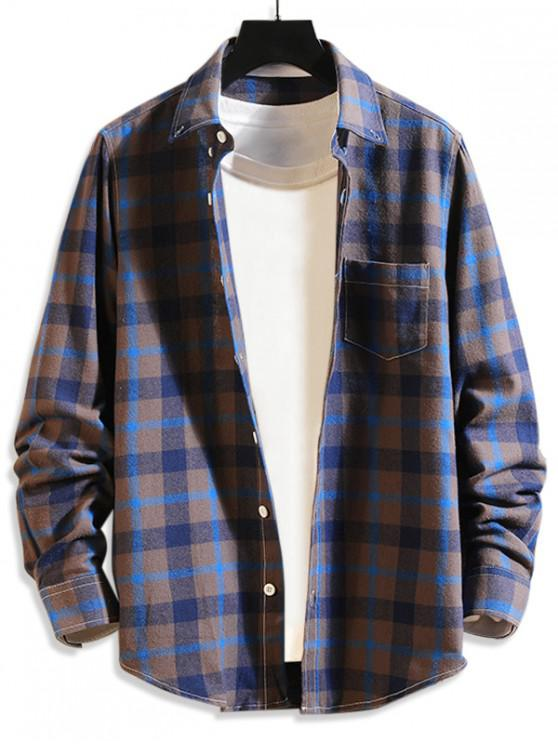 online Plaid Print Button Long Sleeves Shirt - CORNFLOWER BLUE L