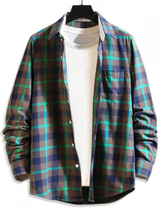 latest Plaid Print Button Long Sleeves Shirt - MEDIUM TURQUOISE M