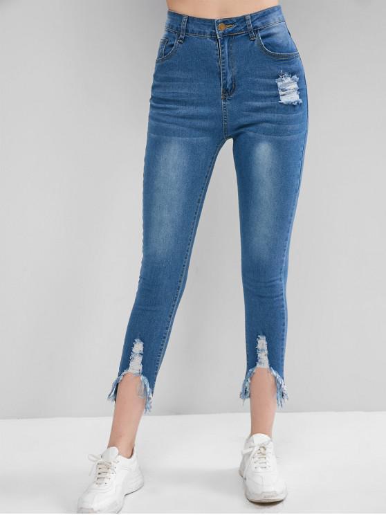 fancy Distressed Zipper Fly Pocket Skinny Jeans - DENIM BLUE S