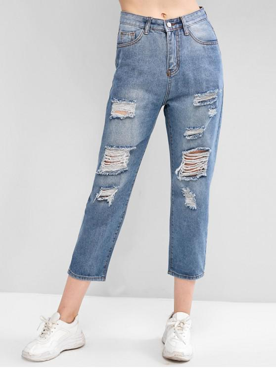 ladies Ripped Pocket Boyfriend Denim Jeans - DENIM BLUE S