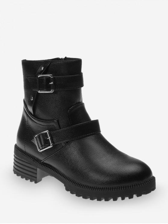 雙扣矮胖鞋跟皮短靴 - 黑色 歐盟40