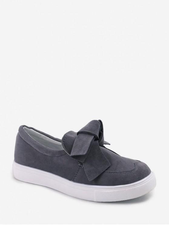 蝴蝶結絨面圓頭平底鞋鞋 - 灰色 歐盟40