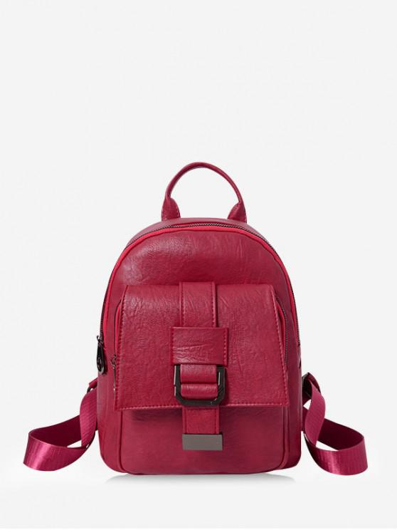 new Belted Accent Leather Small Backpack - RED