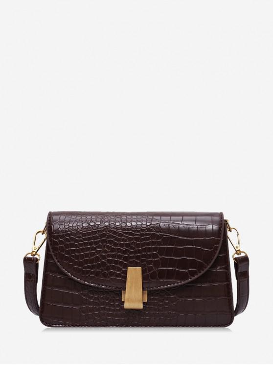 best Animal Embossed Leather Crossbody Bag - COFFEE