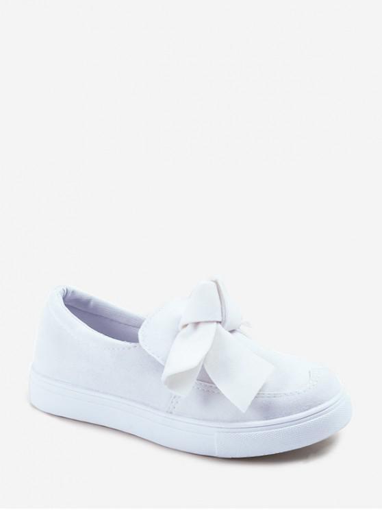 蝴蝶結絨面圓頭平底鞋鞋 - 白色 歐盟35