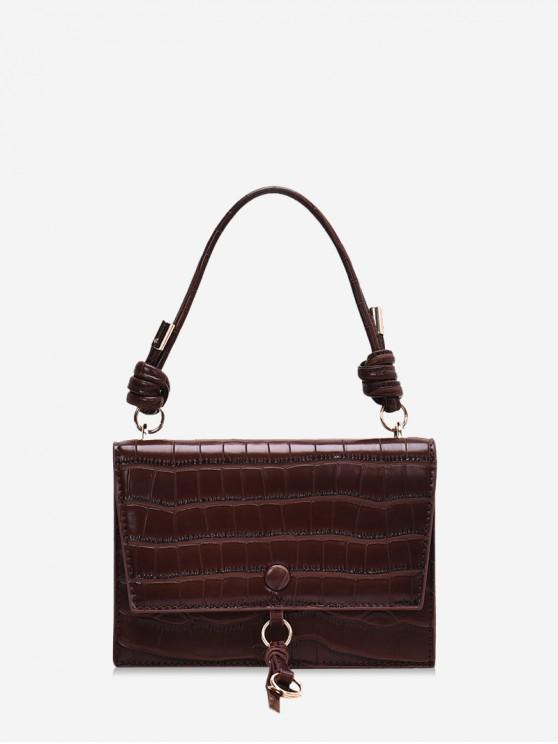 fashion Solid Leather Tie Design Shoulder Bag - BROWN