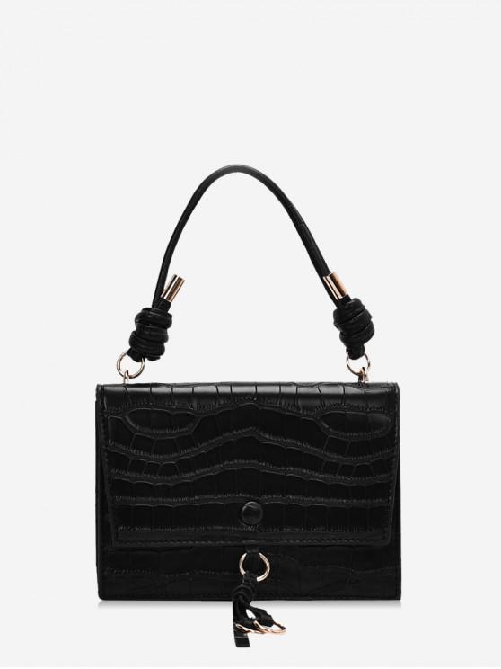 women's Solid Leather Tie Design Shoulder Bag - BLACK