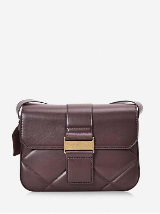 outfit Solid Crossbody Leather Shoulder Bag - COFFEE