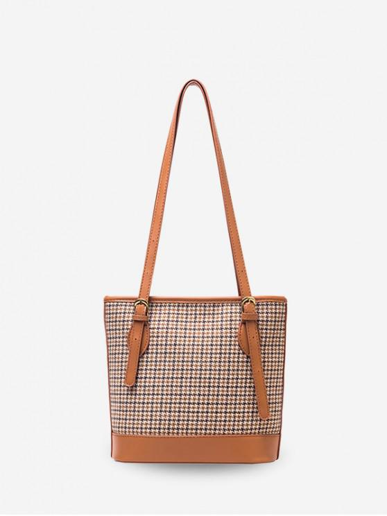 fashion Houndstooth Print Double Shoulder Bucket Bag - LIGHT BROWN