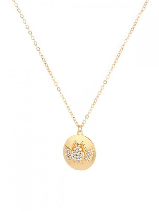 chic Round Engraved Rhinestone Pendant Necklace - GOLD