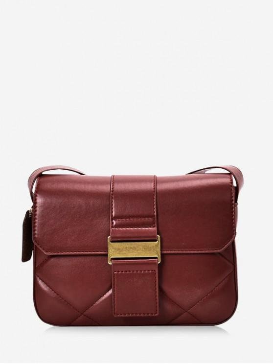 sale Solid Crossbody Leather Shoulder Bag - RED WINE