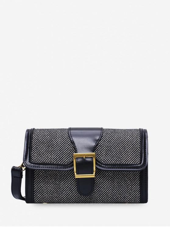 womens Herringbone Print Flap Crossbody Bag - BLACK