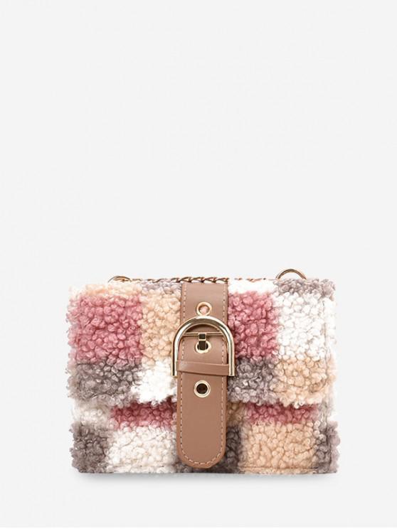 women Color-blocking Faux Fur Mini Crossbody Bag - ORANGE PINK