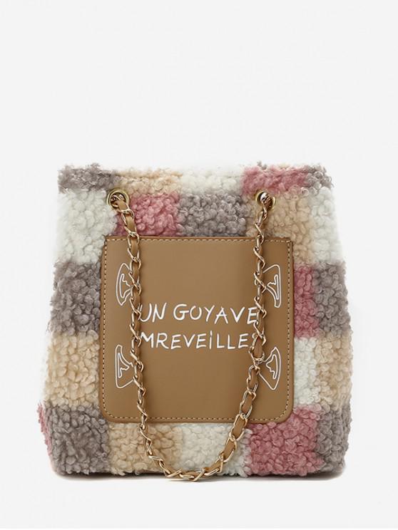 women's Letter Color-blocking Patch Plush Bucket Bag - PINK