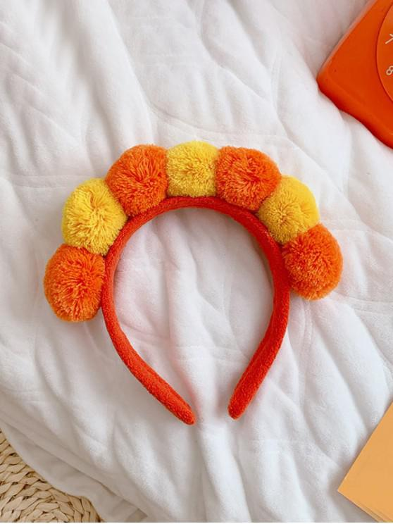 fashion Fuzzy Pom Ball Head Band - TANGERINE