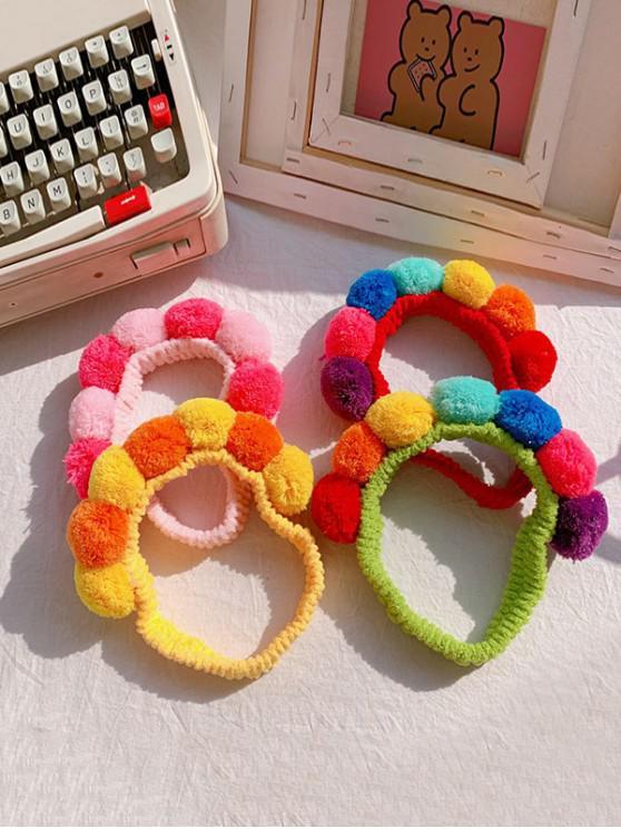 buy Fuzzy Pom Ball Elastic Hair Bands - MULTI-A
