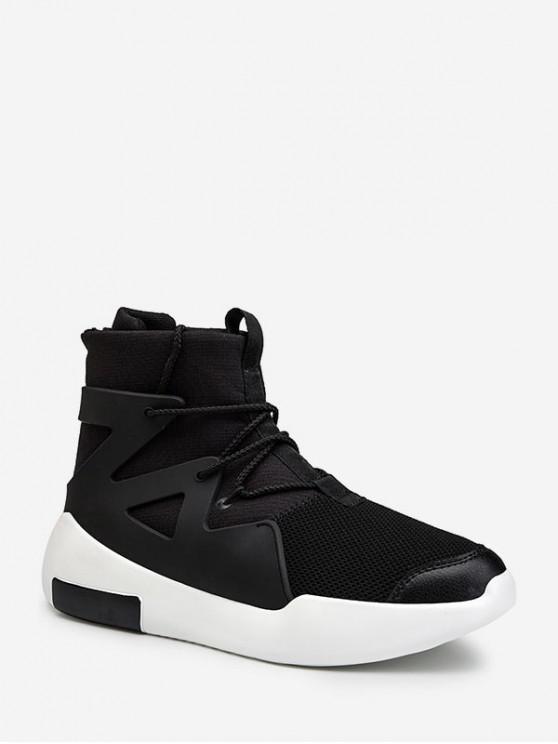 Chaussures Décontractées Hautes Zippéesau Dos en PU - Noir EU 43