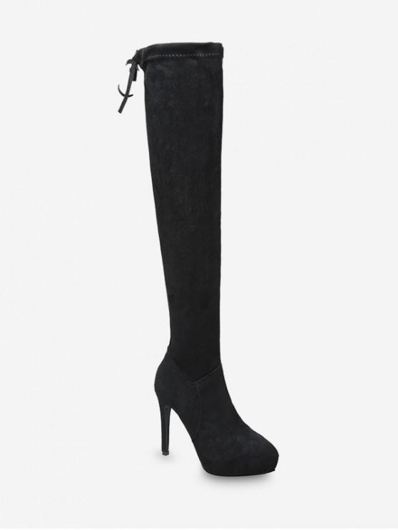 回接細高跟麂皮過膝高筒靴 - 黑色 歐盟37