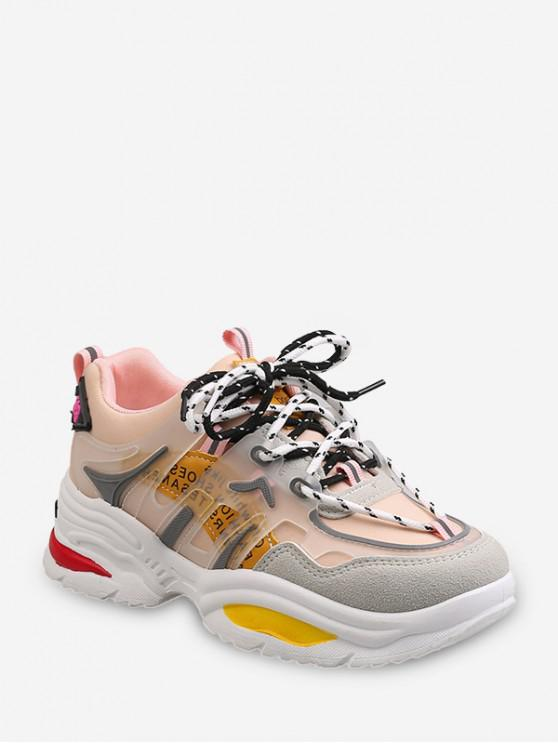 womens Colorblock Lace Up Clunky Sneakers - LIGHT PINK EU 41