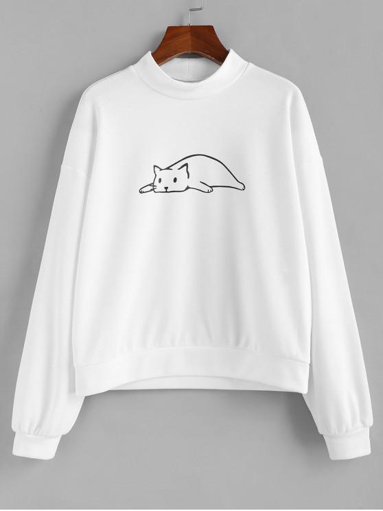 ZAFUL Принт кошки Плечо падения Толстовка - Белый S