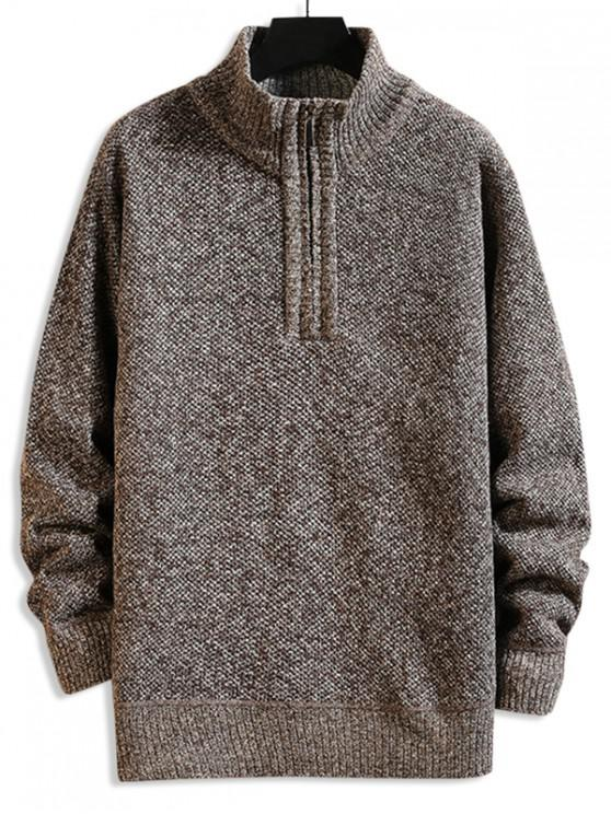 latest Solid Color Quarter Zip Casual Sweater - COFFEE L