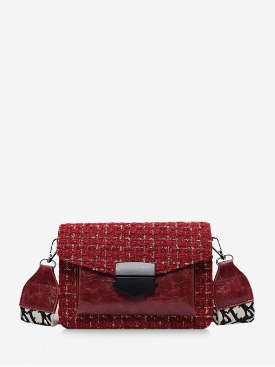 unique Hasp Woolen Shoulder Bag - RED