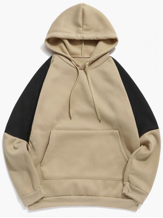 shop Colorblock Panel Fleece Raglan Sleeve Hoodie - KHAKI XS