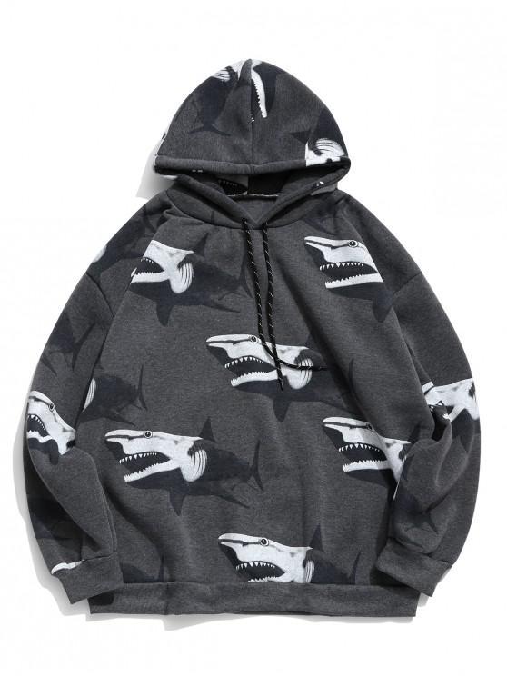 fancy Shark Print Fleece Drop Shoulder Hoodie - DARK SLATE GREY 2XL