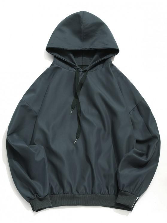 buy Drop Shoulder Solid Drawstring Hoodie - GRAY 2XL