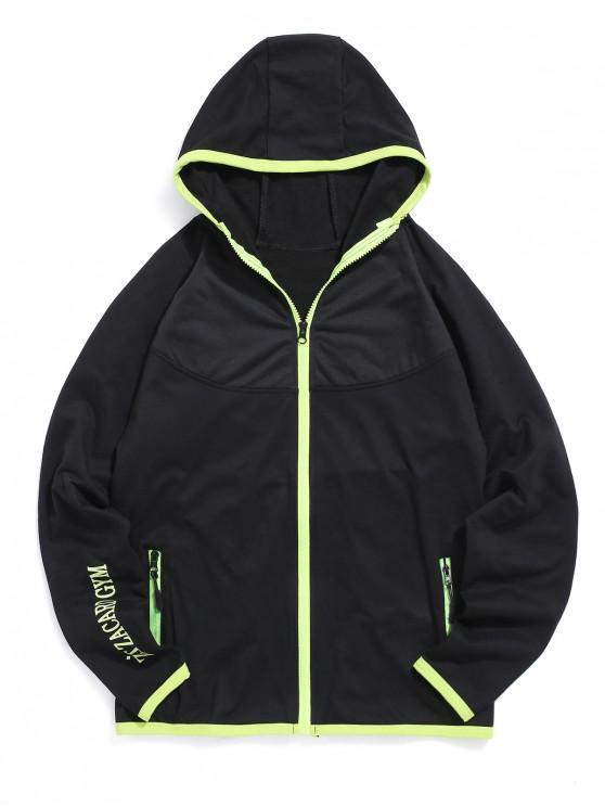 womens Colorblock Trim Raglan Sleeve Hooded Jacket - BLACK XS