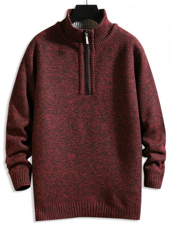 outfits Solid Color Quarter Zip Casual Sweater - FIREBRICK L