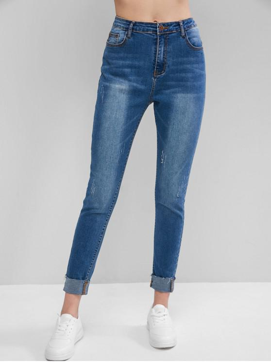 fashion ZAFUL Cat Whisker High Waisted Skinny Cuff Jeans - BLUE S
