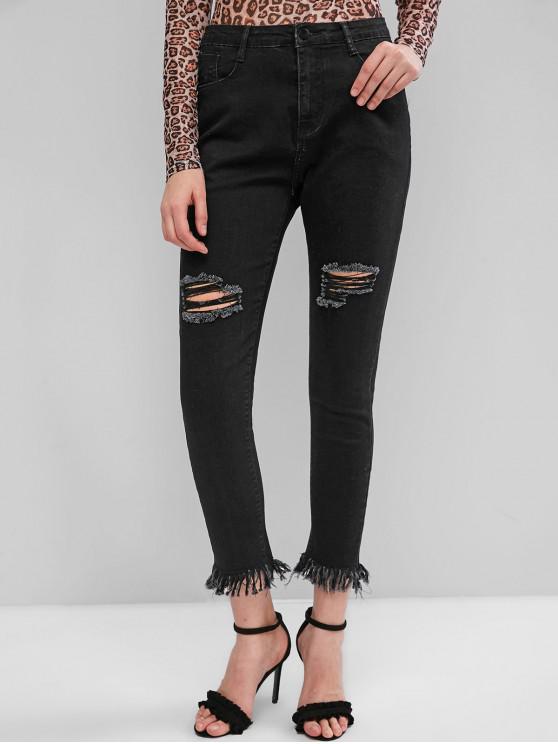 chic ZAFUL Ripped Dark Wash Frayed Hem Slim Jeans - BLACK M