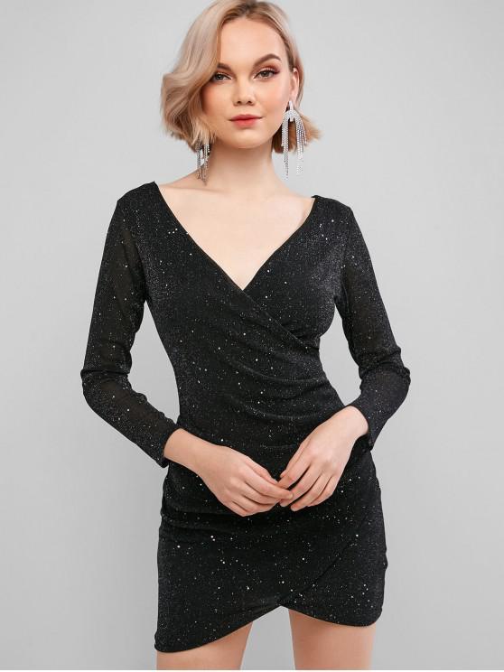 latest Sparkly Plunging Surplice Mini Dress - BLACK S