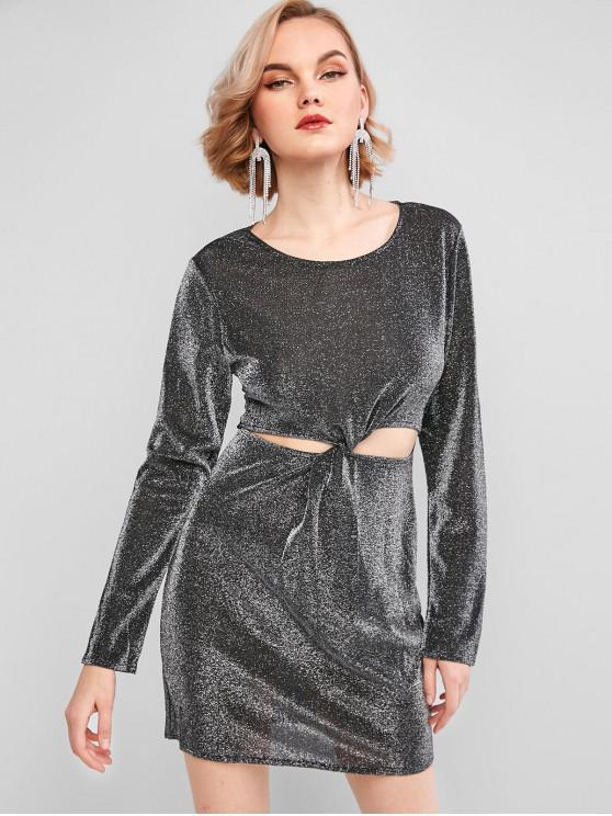 ladies Glitter Metallic Thread Twist-front Sheath Dress - BLACK L