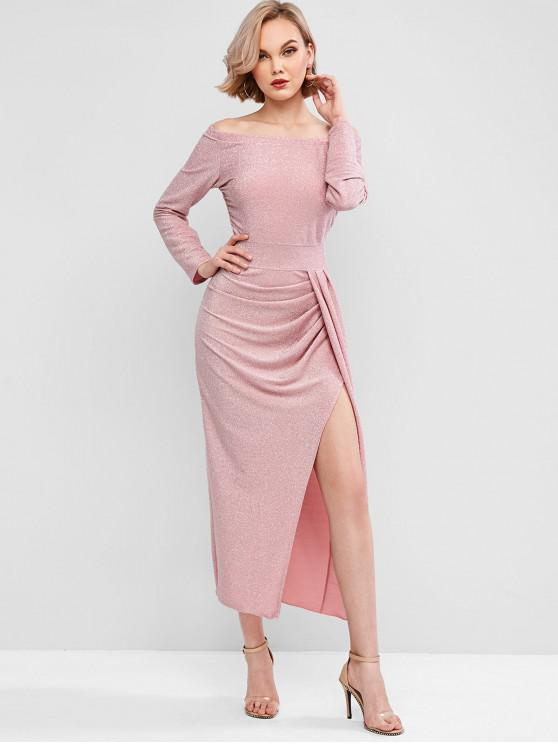 unique Sparkly Metallic Thread Ruched Off The Shoulder Dress - PINK L