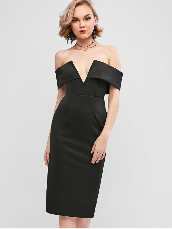 chic V-wired Padded Off The Shoulder Pencil Dress - BLACK XL