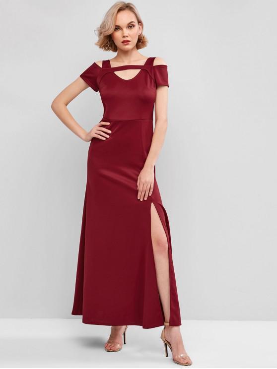 women's Cutout Slit Maxi Prom Dress - RED WINE L