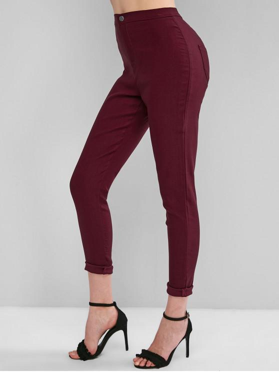 women High Waisted Pocket Skinny Pants - RED WINE XL