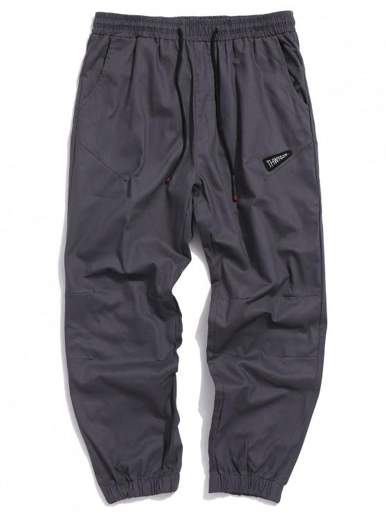 online Letter Embroidered Casual Jogger Pants - GRAY 3XL