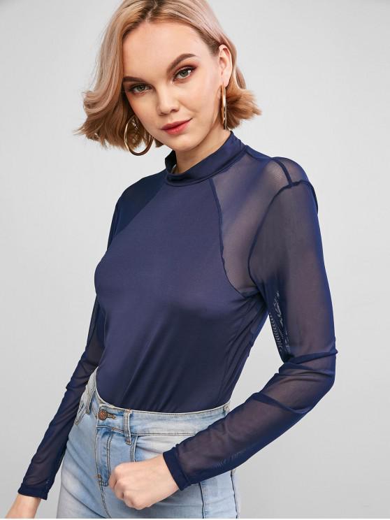 ladies Mock Neck Mesh Panel Long Sleeve Bodysuit - CADETBLUE M