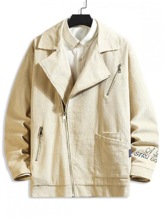 shop Letter Embroidery Zipper Up Jacket - BEIGE M